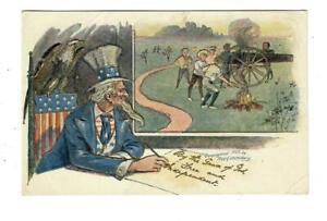 Vintage-Patriotic-July-4th-Postcard-Uncle-Sam-Eagle-Boys-amp-Canon