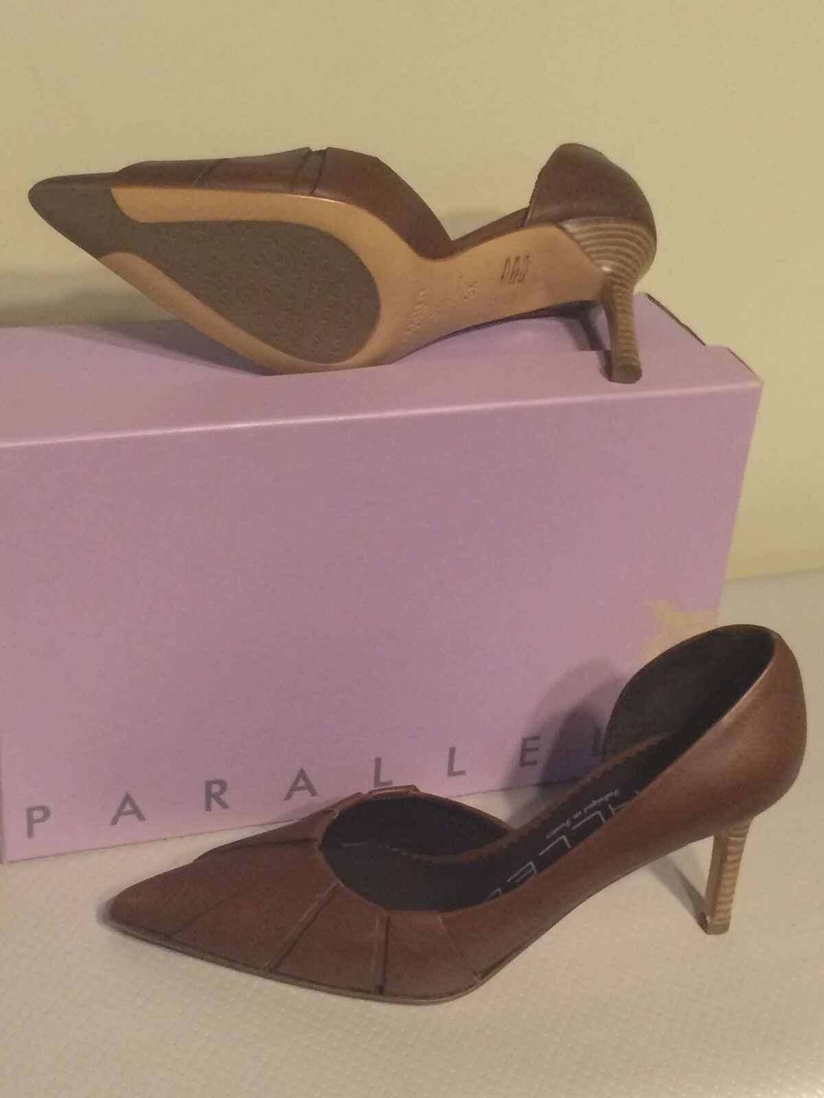 Parallele Paneled Pointy Toe Leder Größe Heels Made In France Größe Leder US 6 064260