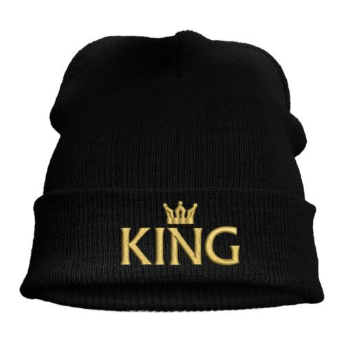 Gorro chulo Leisure Beanie bordadas motivo King /& Queen y corona en oro socios