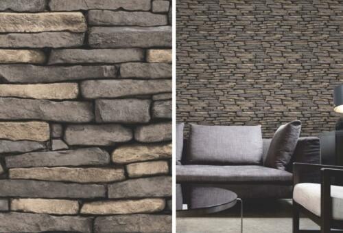 Grey Natural Brick Wallpaper Weathered Slate Stone Wall Feature Fine Decor