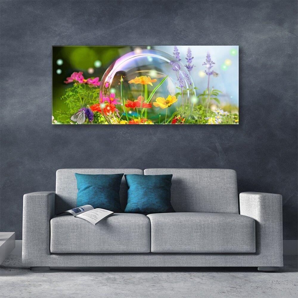 Glass print Wall art art art 125x50 Image Picture Flowers Nature dfc117