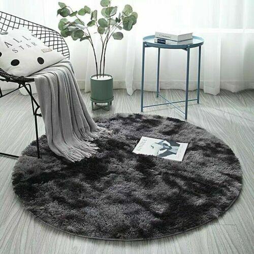 Hot Hochflor Teppich Rund Grau Zimmerteppich Kinderzimmer Shaggy Matte