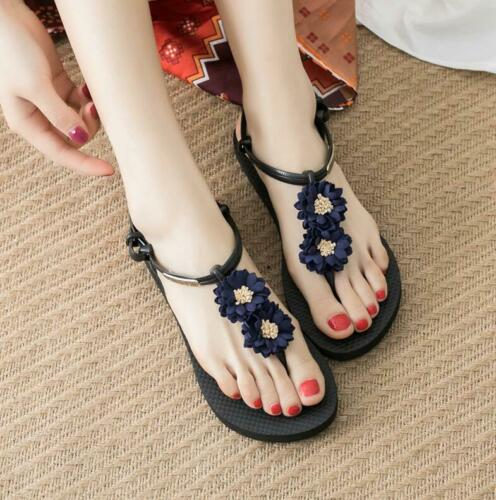 Ladies Floral Flat National style Sandals clip toe Summer Boho Beach Sweet Shoes