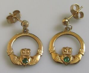 Image Is Loading Secondhand 9ct Yellow Gold Emerald Claddagh Stud Earrings