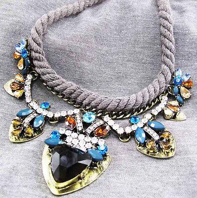 Fashion pentand Crystal Bib Statement charm chunky colorful collar Necklace 804