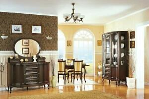 Klassisches Esszimmer Vitrine Kommode Stühle Tisch Chippendale Wohnzimmer 10tlg