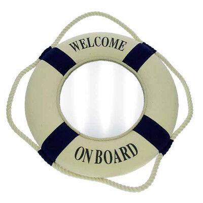 "Miroir bouée ""Welcome on board"", bienvenue à bord, 25 cm, déco style marin neuf"