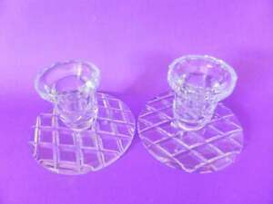 Pair-of-Lead-Crystal-Candle-Holders-Diamond-Design-1930-039-s-Candlestick-Holders
