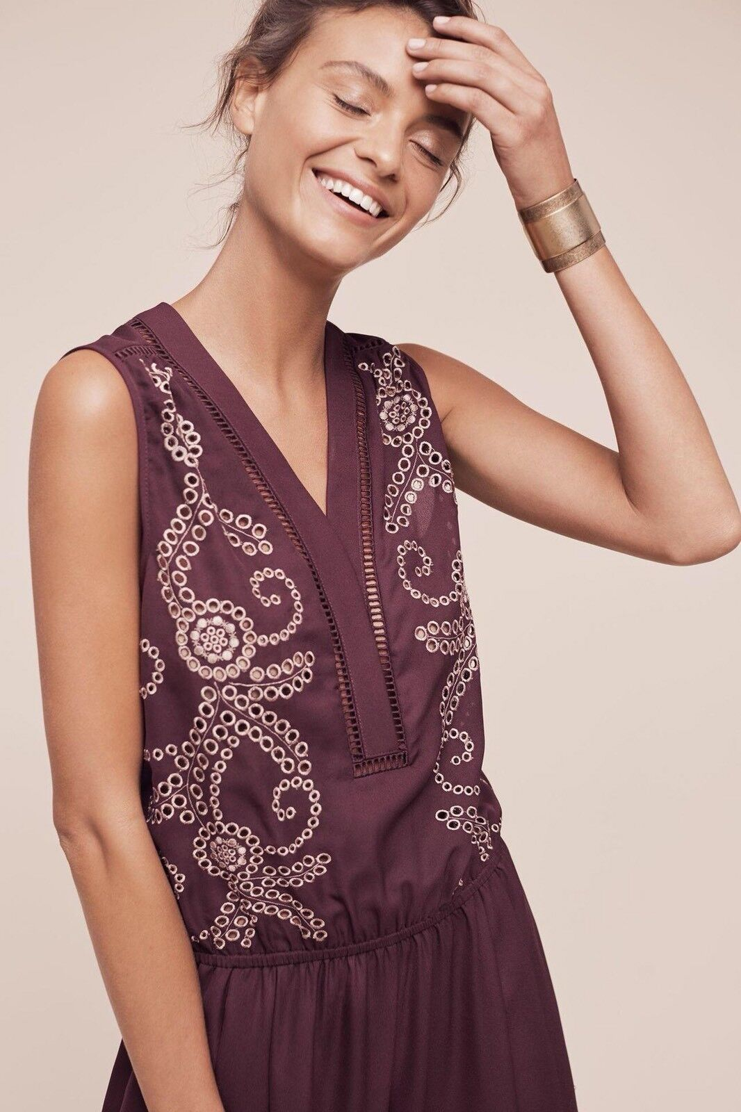 8b0c037588722 ... Anthropologie Teresa Teresa Teresa Embroidered Jumpsuit by Ranna Gill  Size Sz Medium Petite MP 58446e ...