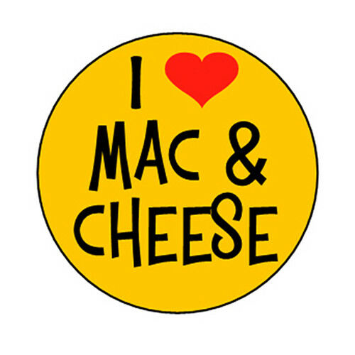 I LOVE MAC /& CHEESE pin button funny novelty kraft and