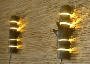 Details About Wooden Sconces Wall Light From Natural Logs Rustic Lamp Fixtures