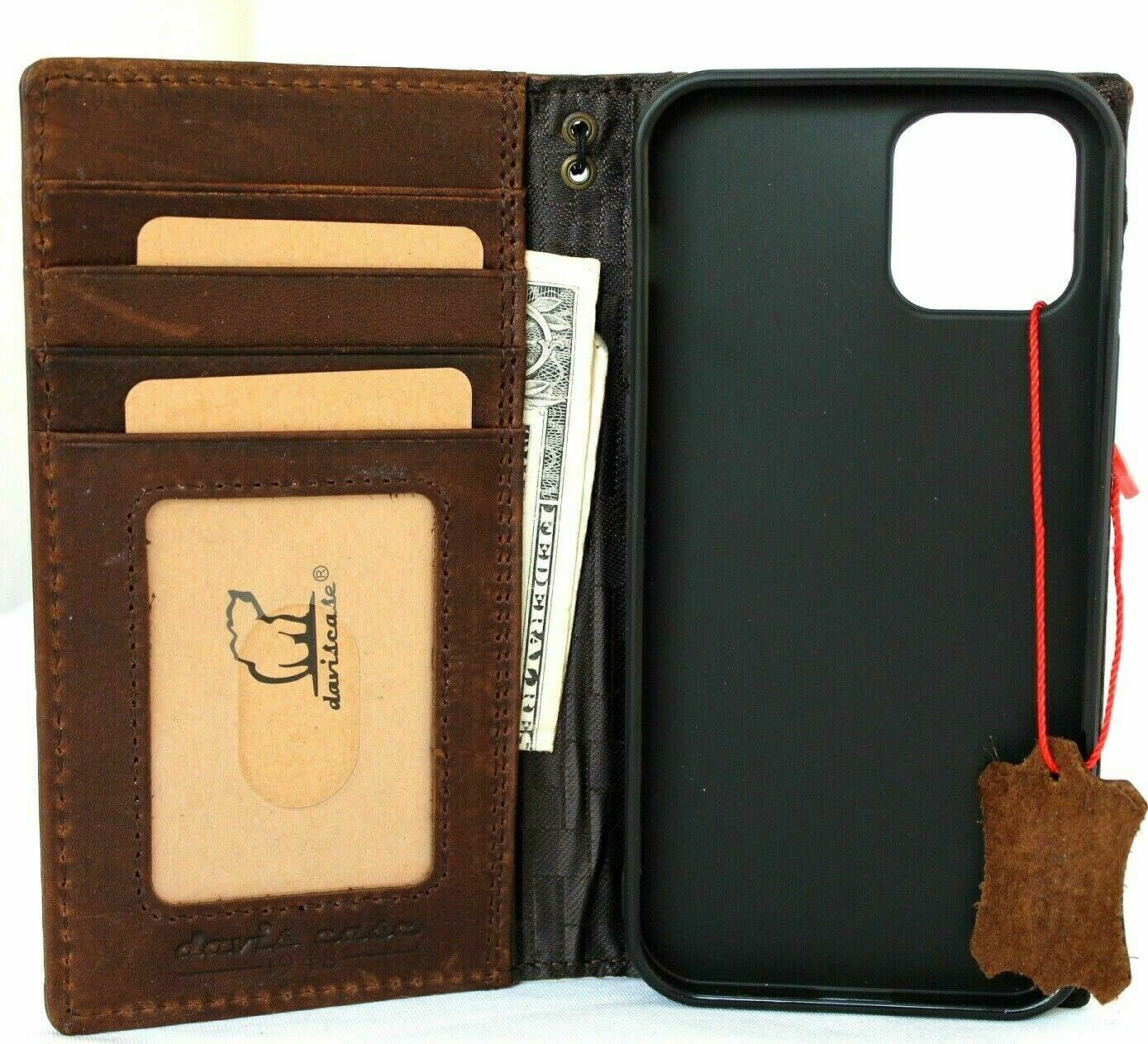 Image 21 - Genuine Vintage Leather Case For Apple iPhone 12 Pro Book Wallet Cover Retro Oil