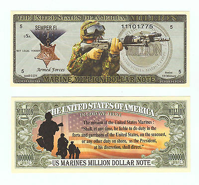 US MARINES MISSION  MILLION  DOLLAR BILL NOVELTY Collectible  FAKE ITEM B 2