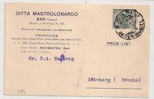 COVER ITALIE ITALIA CARD BARI TO SWEDEN. DITTA MASTROLONARDO. L484