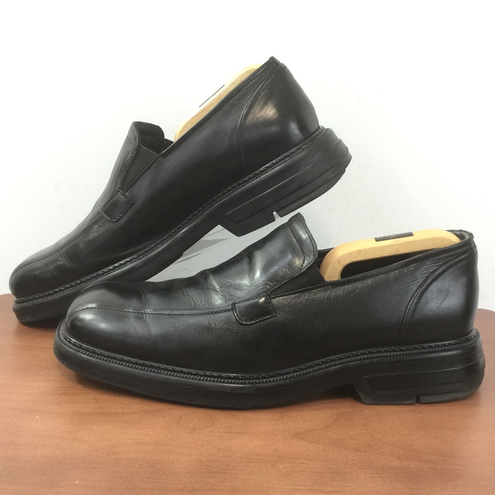 b7653a4c054a7 BASS Mens 9.5M Black Leather Dress shoes Made In ITALY Size 9.5M ...