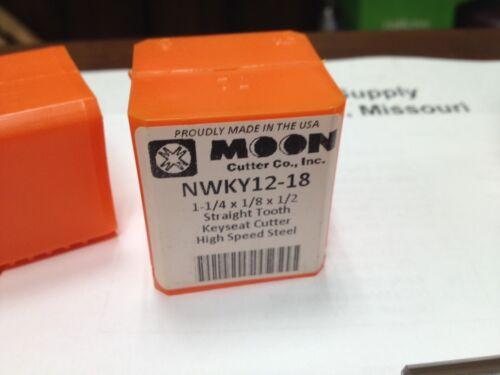 """1-1//4/"""" Diameter USA Made KeySeat Cutter HSS Moon NWKY12-18 1//8/"""" Wide"""