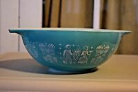 Vtg Pyrex Amish Butterprint Cinderella White on Turquoise 4 Qt Mixing Bowl 444