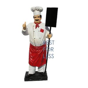 Koch-Imbiss-Werbung-Strassenaufsteller-Lockal-Restaurant-Tafel-Menue-Figur-Statue
