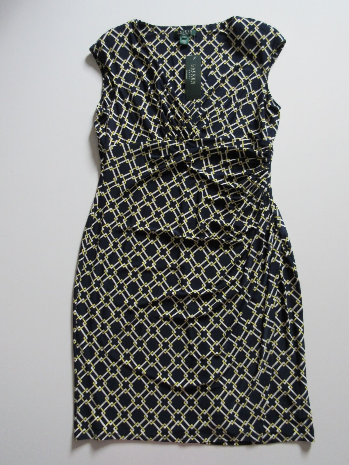 NWT LAUREN Ralph Lauren Link Print Lighthouse Navy Ruched Jersey Dress 14
