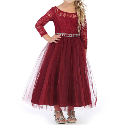 Mauve Long Sleeve Stretch Lace Bodice Flare Tulle Skirt Flower Girl Dresses