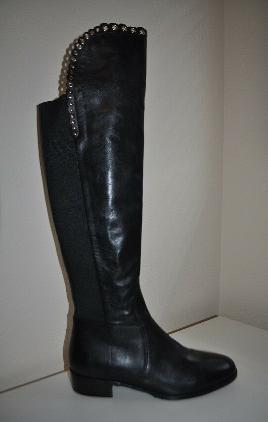 NEW L.K. LK Bennett JOANNE BLack Leather Over the Knee OTK Flat Boot S 40 / 39.5