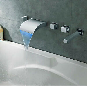 Wall Mounted Led Bathroom Waterfall Bathtub Faucet 3