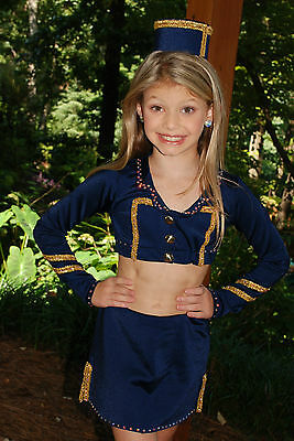Navy custom made competition dance costume, tap, jazz,CM CL Pageant Fashion Wear