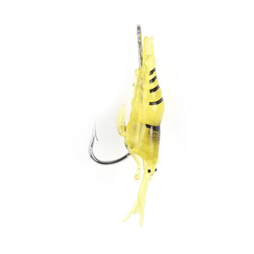 5x Shrimp Lures Soft Squid Jigs Lake Worm Prawn Fishing Lures Artificial Bait ZP