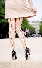 Seamed Black Polka Dot Cute Tights Stockings Pinup Vintage 1940s 50s Pamela Mann