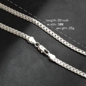 Fashion 5mm 925 Silver Necklace Chain 20 Inch Jewelry Men Women Pendants 566325875049 Ebay