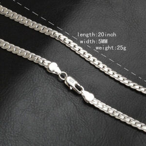 Fashion-5mm-925-Silver-Necklace-Chain-20-034-inch-Jewelry-Men-Women-Pendants