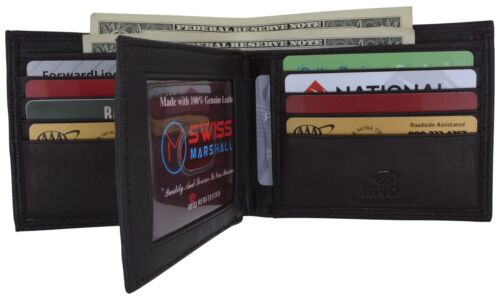 RFID Blocking Mens Genuine Leather Black Flap Credit Card ID Holder Slim Bifold