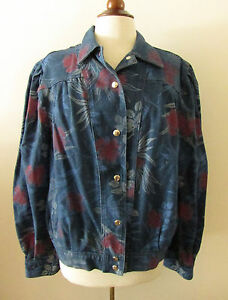 Womens-Vintage-80s-Pleated-Denim-Floral-Flower-Print-Jean-Jacket-Small