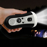 Portable Wind Up Emergency Led Flashlight Fm Radio Hand Crank Outdoor Camping Us on sale