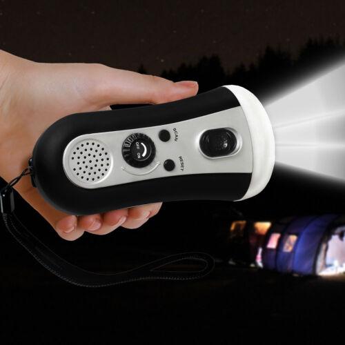 Portable Wind Up Emergency LED Flashlight FM Radio Hand Crank Outdoor Camping US