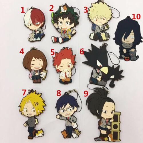 T1577  Anime Boku no hero academia Rubber Keychain Key Ring Straps Cosplay