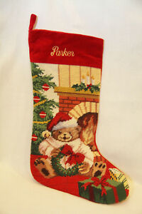 Details About Lillian Vernon Teddy Bear Needlepoint Personalized Christmas Stocking Parker