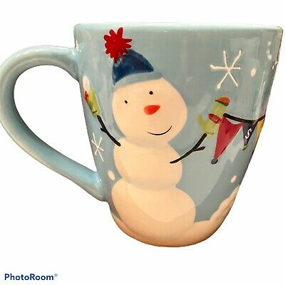 Nicholas Square LET IT SNOW Snowman Snowflakes Embossed Coffee Mug Tea Cup St