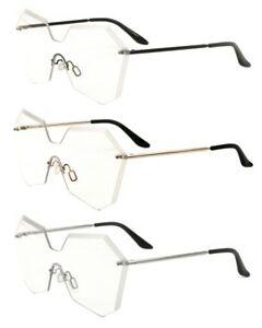 5b6886a218 Details about WOMENS RIMLESS LASER CUT FUTURISTIC SUNGLASSES CLEAR LENS  OVERSIZED SHIELD RETRO