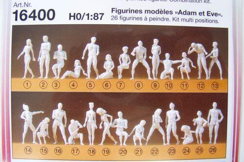 26 NEW HO 1:87 SCALE Preiser TWENTY-SIX Adam and Eve Nude Figures KIT 16400