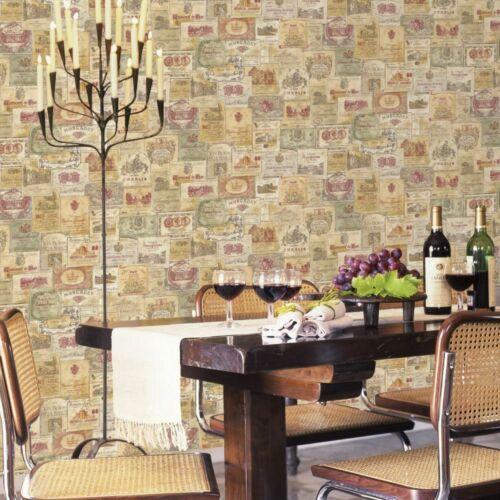 Essener Tapete Nostalgie G56173 Weinetikett Wein bunt multicolor Vlies
