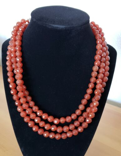Faceted Briolette Carnelian Agate Hand Knotted Graduated Stunning Necklace