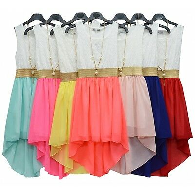 Girls Sleeveless Waist Band Asymmetrical Chiffon Dress with Gold Necklace New