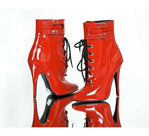 Women Stilettos Patent Leather Ankle Boots Pointed Toe Buckle Heels shoes Big Sz