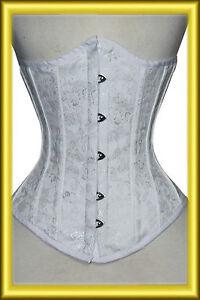 268d97f40efb0 Details zu Unter Brust corsage korsett aus Brokat Weiß Gr 34,36,38,40, bis  56