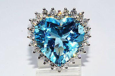 $18,500 20.85Ct Heart Shape Natural Blue Topaz & Diamond Ring