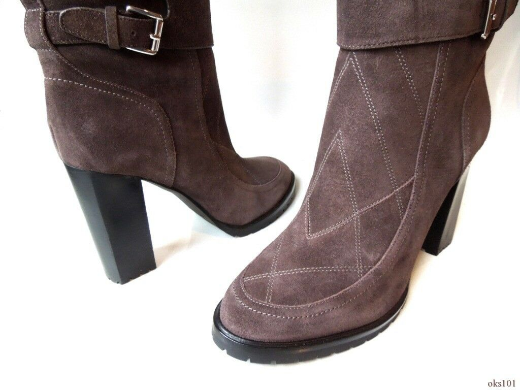 New  595 SIGERSON SIGERSON SIGERSON MORRISON brown suede FUR CUFF BOOTS 10 - super hot 74ab12
