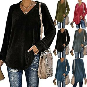 Womens-Casual-Long-Sleeve-V-Neck-T-Shirts-Casual-Blouses-Tunic-Pullover-Tops-LIU