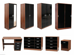 NEW-Caspian-High-Gloss-Black-amp-Walnut-Bedroom-Furniture-Set-Full-Supreme-Range