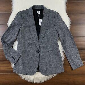 J-Crew-Women-039-s-Size-4-Black-White-100-Linen-One-Button-Blazer-Jacket-L1150